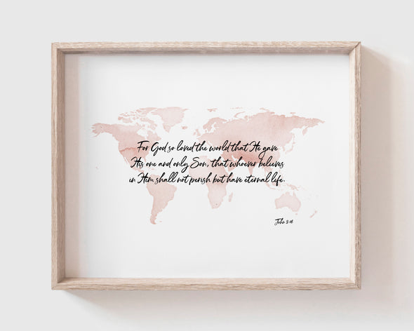 Christian Gifts | Christian Wall Art | John 3:16 | [theme] | [occasion]  | [colour] |