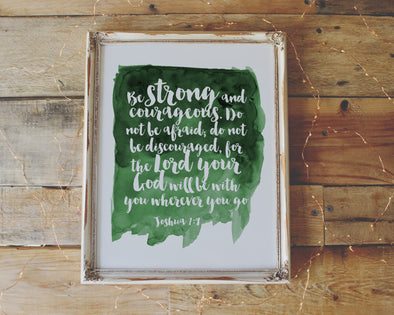 Joshua 1:9 | Be strong and courageous | Christian Printables | Bible Verse Wall Art | Christian Gifts | Scripture Decor | Wondrous Works | Etsy | Christian Nursery | Green