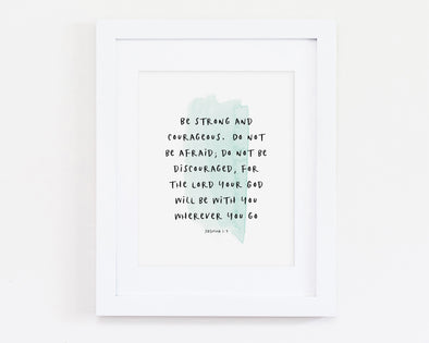 Joshua 1:9 | Be Strong and Courageous | Christian Printables | Bible Verse Wall Art | Christian Gifts | Scripture Decor | Wondrous Works | Etsy | Turquoise Blue | Christian Nursery