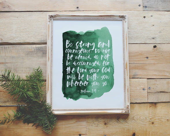 Joshua 1:9 | Be Strong and Courageous | Christian Printables | Bible Verse Wall Art | Christian Gifts | Scripture Decor | Wondrous Works | Etsy | Green | Christian Nursery