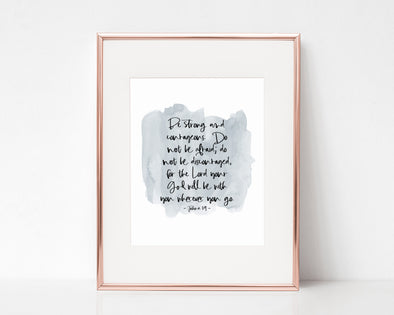 Christian Wall Art | Christian Gifts | Joshua 1:9 | Be strong and courageous