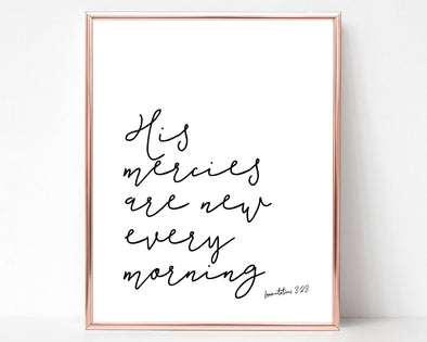 Christian Wall Art | Christian Gifts | His Mercies Are New Every Morning | Lamentations 3:23