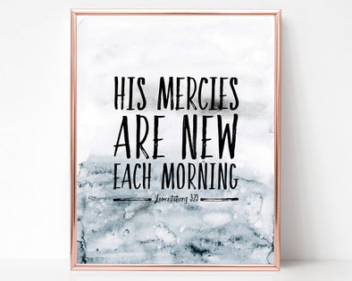 Lamentations 3:23 | His mercies are new each morning | Christian Printables | Bible Verse Wall Art | Christian Gifts | Scripture Decor | Wondrous Works | Etsy | Instant Downloads | Digital Downloads | Bible Calligraphy