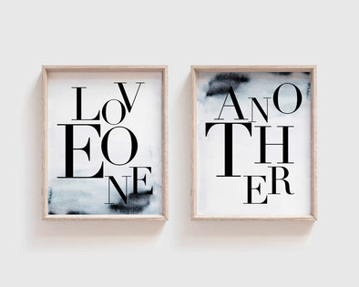 Love One Another | Christian Printables | Bible Verse Wall Art | Christian Gifts | Scripture Decor | Wondrous Works | Etsy | Blue | 8 x 10 | Printable Set Of Two | Instant Download | Digital Downloads | Minimalist