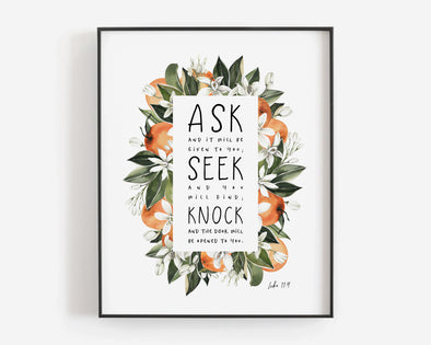 Christian Wall Art | Christian Gifts | Ask Seek Knock | Luke 11:9