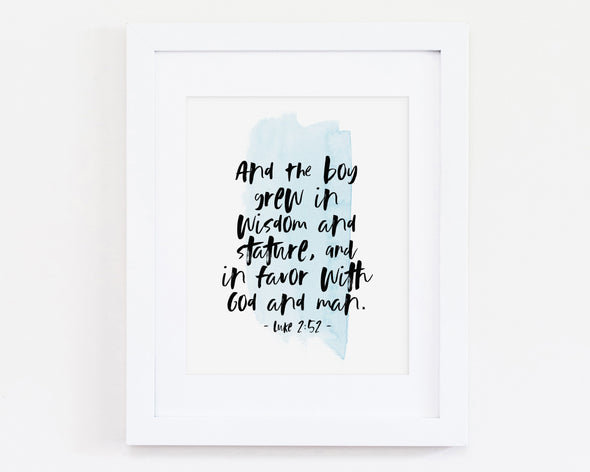 Christian Gifts | Christian Wall Art | Luke 2:52 | [theme] | [occasion]  | [colour] |