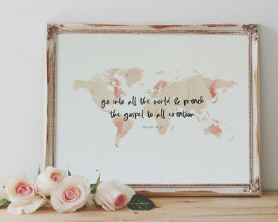 Mark 16:15 | World Map | Go into all the world and preach the gospel to all creation | Christian Printables | Bible Verse Wall Art | Christian Gifts | Scripture Decor | Wondrous Works | Etsy | Instant Downloads | Digital Downloads | Bible Calligraphy | 10 x 8