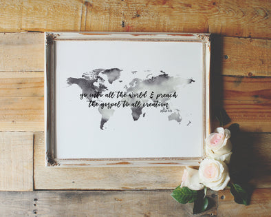Christian Gifts | Christian Wall Art | Mark 16:15 | [theme] | [occasion]  | [colour] |