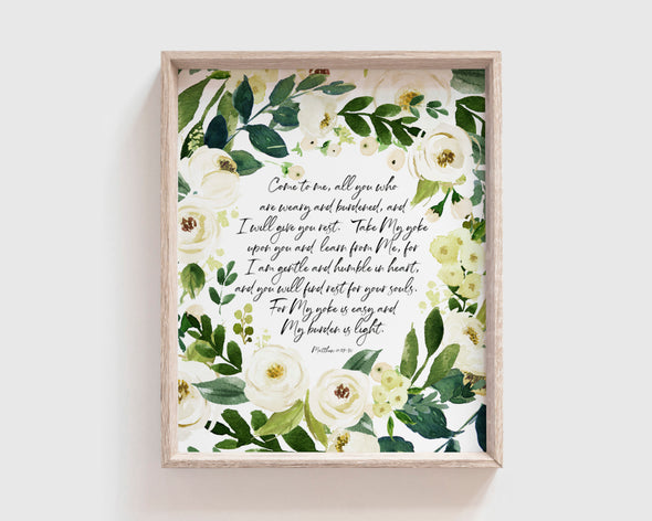Christian Gifts | Christian Wall Art | Matthew 11:28-30 | [theme] | [occasion]  | [colour] |