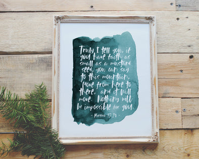 Christian Gifts | Christian Wall Art | Matthew 17:20 | [theme] | [occasion]  | [colour] |