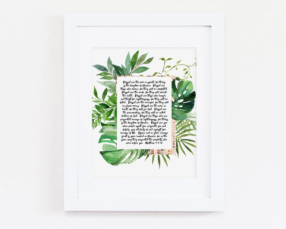 Christian Gifts | Christian Wall Art | Matthew 5:3-12.  The Beatitudes | [theme] | [occasion]  | [colour] |