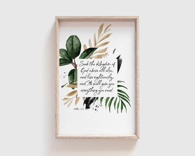Matthew 6:33 | Seek the Kingdom of God above all else, and live righteously, and He will give you everything you need | Christian Printables | Bible Verse Wall Art | Christian Gifts | Scripture Decor | Wondrous Works | Etsy | NLT | Tropical | 20 x 30 | 4 x 6 | 8 x 12