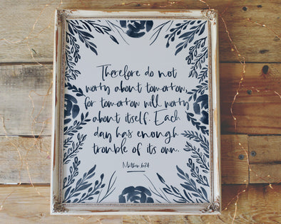 Christian Gifts | Christian Wall Art | Matthew 6:34 | [theme] | [occasion]  | [colour] |