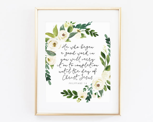 Christian Wall Art | Christian Gifts | Philippians 1 6 | Philippians 1:6 | He who began a good work in you