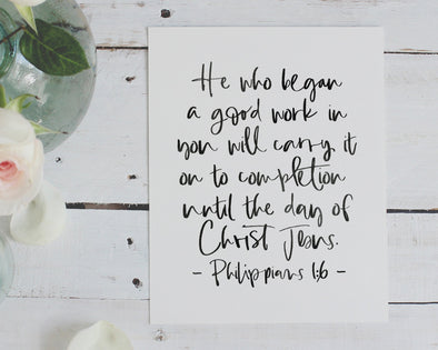 Christian Gifts | Christian Wall Art | Philippians 1:6 | [theme] | [occasion]  | [colour] |
