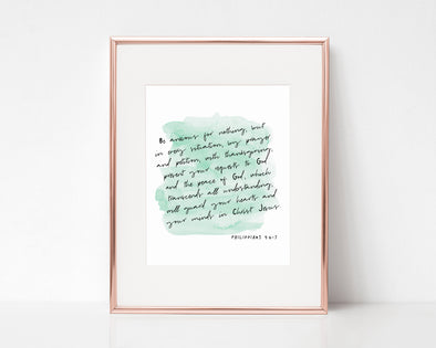 Christian Wall Art | Christian Gifts | Philippians 4:6-7 | Be Anxious For Nothing