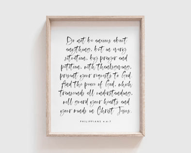 Christian Gifts | Christian Wall Art | Philippians 4:6-7 | [theme] | [occasion]  | [colour] |