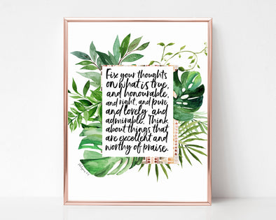 Christian Gifts | Christian Wall Art | Philippians 4:8 | [theme] | [occasion]  | [colour] |