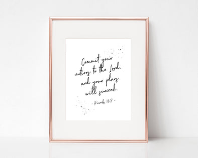 Christian Gifts | Christian Wall Art | Proverbs 16:3 | [theme] | [occasion]  | [colour] |