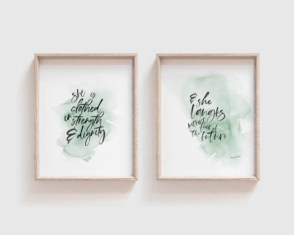 Proverbs 31:10 | She is far more precious than jewels | Christian Printables | Bible Verse Wall Art | Christian Gifts | Scripture Decor | Wondrous Works | Etsy | Instant Downloads | Digital Downloads | Turquoise Green | Christian Nursery
