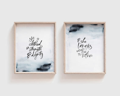 Proverbs 31:25 | She Is Clothed In Strength & Dignity | Laughs Without Fear Of The Future | Christian Printables | Bible Verse Wall Art | Christian Gifts | Scripture Decor | Wondrous Works | Etsy | Blue | Christian Gifts For Her