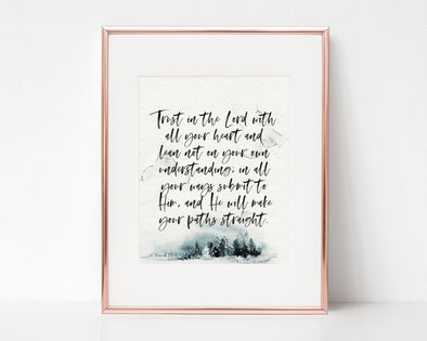 Christian Gifts | Christian Wall Art | Proverbs 3:5-6 | [theme] | [occasion]  | [colour] |