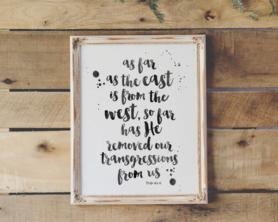 Christian Gifts | Christian Wall Art | Psalm 103:12 | Wondrous Works