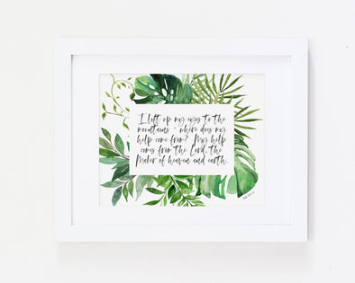 Psalm 121:1-2 | I lift my eyes to the mountains | where does my help come from ? | Christian Printables | Bible Verse Wall Art | Christian Gifts | Scripture Decor | Wondrous Works | Etsy | Green