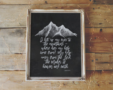 Psalm 121:1-2 | I lift my eyes to the mountains | where does my help come from ? | Christian Printables | Bible Verse Wall Art | Christian Gifts | Scripture Decor | Wondrous Works | Etsy | Black and White