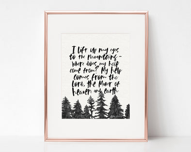 Psalm 121:1-2 | I lift my eyes to the mountains | where does my help come from ? | Christian Printables | Bible Verse Wall Art | Christian Gifts | Scripture Decor | Wondrous Works | Etsy