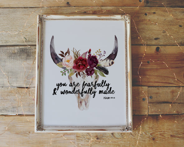Psalm 139:14 | You are fearfully and wonderfully made | Christian Printables | Bible Verse Wall Art | Christian Gifts | Scripture Decor | Wondrous Works | Etsy | Bull Horns