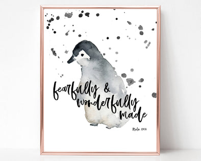 Psalm 139:14 | Fearfully And Wonderfully Made | Christian Printables | Bible Verse Wall Art | Christian Gifts | Scripture Decor | Wondrous Works | Etsy | Penguin | Grey | Christian Nursery | Dedication Gifts