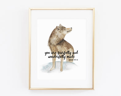 Psalm 139:14 | You are fearfully and wonderfully made | Christian Printables | Bible Verse Wall Art | Christian Gifts | Scripture Decor | Wondrous Works | Etsy | Christian Nursery Decor | Wolf | Dedication Gifts