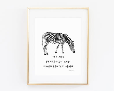 Psalm 139:14 | You are fearfully and wonderfully made | Christian Printables | Bible Verse Wall Art | Christian Gifts | Scripture Decor | Wondrous Works | Zebra | Christian Nursery | Dedication Gifts | Unisex | Black and White