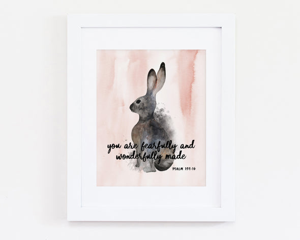 Psalm 139:14 | You are fearfully and wonderfully made | Christian Printables | Bible Verse Wall Art | Christian Gifts | Scripture Decor | Wondrous Works | Etsy | Christian Nursery Decor | Animal | For Girls | Dedication Gifts | Rabbit