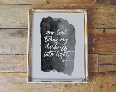 Christian Gifts | Christian Wall Art | Psalm 18:28 | [theme] | [occasion]  | [colour] |