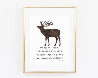 Psalm 18:33 | He makes my feet like hinds' feet | Enabling me to stand on mountain heights | Christian Printables | Bible Verse Wall Art | Christian Gifts | Scripture Decor | Wondrous Works | Etsy | Deer | 8 x 10 | Brown