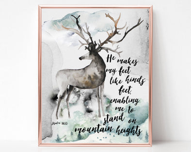 Psalm 18:33 | He makes my feet like hinds' feet | Enabling me to stand on mountain heights | Christian Printables | Bible Verse Wall Art | Christian Gifts | Scripture Decor | Wondrous Works | Etsy | Deer | 8 x 10