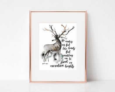 Psalm 18:33 | He makes my feet like hinds' feet | Enabling me to stand on mountain heights | Christian Printables | Bible Verse Wall Art | Christian Gifts | Scripture Decor | Wondrous Works | Etsy | Deer