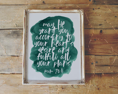 Christian Gifts | Christian Wall Art | Psalm 20:4 | [theme] | [occasion]  | [colour] |