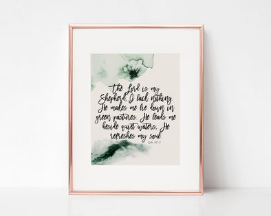 Christian Gifts | Christian Wall Art | Psalm 23:1-3 | [theme] | [occasion]  | [colour] |