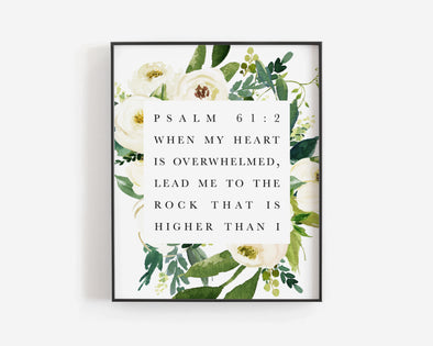 Christian Wall Art | Christian Gifts | Psalm 61:2 | When my heart is overwhelmed | lead me to the rock that is higher than I