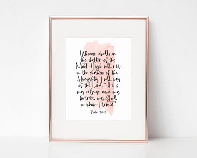 Psalm 91:1-2 | Whoever dwells in the shelter of the Most High will rest in the shadow of the Almighty | Christian Printables | Bible Verse Wall Art | Christian Gifts | Scripture Decor | Wondrous Works | Etsy | Blush Pink