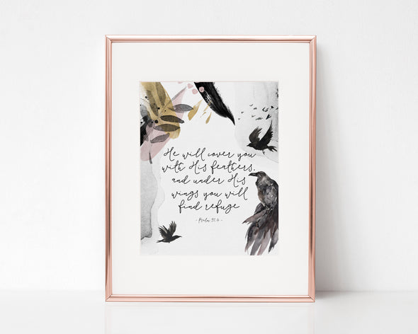 Christian Gifts | Christian Wall Art | Psalm 91:4 | [theme] | [occasion]  | [colour] |