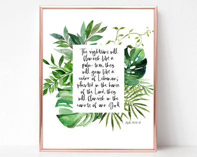 Christian Wall Art | Christian Gifts | The righteous will flourish like a palm tree | Psalm 92:12-13