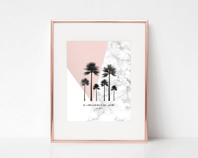 Psalm 92:12 | The Righteous Will Flourish Like A Palm Tree | Christian Printables | Bible Verse Wall Art | Christian Gifts | Scripture Decor | Wondrous Works | Etsy | Grey | Blush Pink
