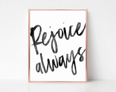 Rejoice Always | Christian Printables | Bible Verse Wall Art | Christian Gifts | Scripture Decor | Wondrous Works | Etsy | Minimalist | Black and White | 1 Thessalonians
