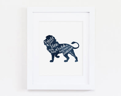 Revelation 5:5 | Behold The Lion Of Judah | Christian Printables | Bible Verse Wall Art | Christian Gifts | Scripture Decor | Wondrous Works | Etsy | Blue | Lion | Christian Nursery | Dedication Gifts