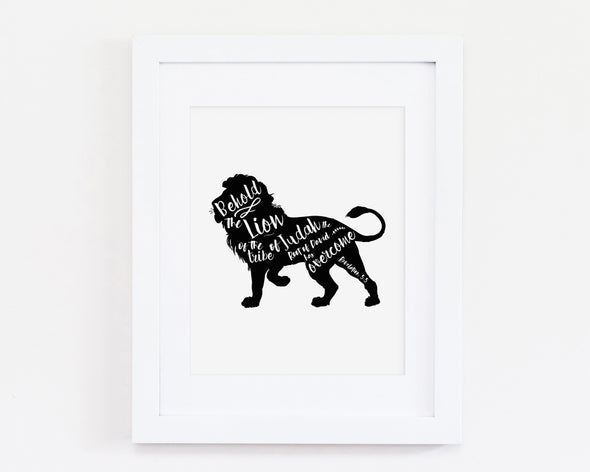 Revelation 5:5 | Behold The Lion Of Judah | Christian Printables | Bible Verse Wall Art | Christian Gifts | Scripture Decor | Wondrous Works | Etsy | Black and White | Lion | Christian Nursery | Dedication Gifts