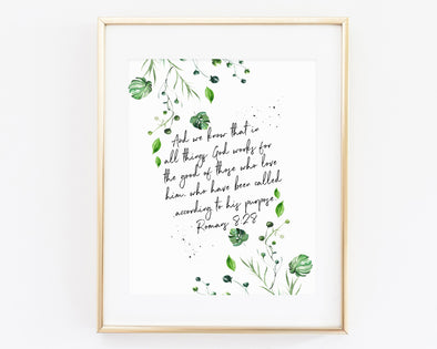 Christian Wall Art | Christian Gifts | Romans 8:28 | God works all things